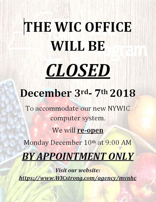 WIC OFFICE Closed English