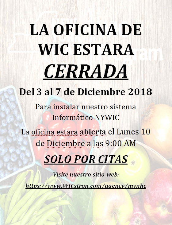 WIC OFFICE Closed Spanish